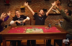 Host Wil Wheaton and his guests revel in their triumph over the co-op board game, Castle Panic.